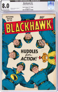 "Golden Age (1938-1955):Superhero, Blackhawk #16 Davis Crippen (""D"" Copy) Pedigree (Quality, 1947) CGC VF 8.0 Off-white to white pages...."