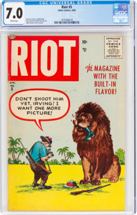 Riot #5 (Atlas, 1956) CGC FN/VF 7.0 White pages