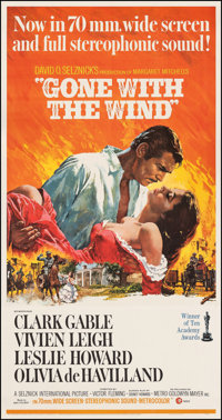"""Gone with the Wind (MGM, R-1967). Very Fine+ on Linen. Three Sheet (41"""" X 81). Howard Terpning Artwork. Academy Awa..."""