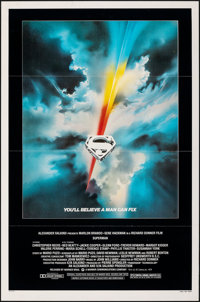"Superman the Movie (Warner Bros., 1978). Flat Folded, Very Fine-. One Sheet (27"" X 41""). Bob Peak Artwork. Act..."