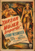 "Movie Posters:Adventure, Tarzan and the Leopard Woman (RKO, 1946). Folded, Fine. Argentinean One Sheet (29.5"" X 43""). Adventure.. ..."