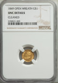 Gold Dollars: , 1849 G$1 Open Wreath -- Cleaned -- NGC Details. UNC. Mintage 687,500. ...