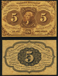 Fr. 1231SP 5¢ First Issue Face and Back Proofs. About New. ... (Total: 2 notes)