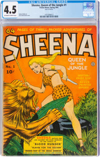 Sheena, Queen of the Jungle #1 (Fiction House, 1942) CGC VG+ 4.5 Off-white to white pages
