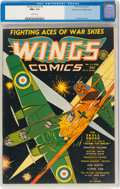 Golden Age (1938-1955):War, Wings Comics #6 Mile High Pedigree (Fiction House, 1941) CGC NM+ 9.6 White pages....