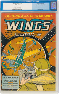 Wings Comics #19 Mile High Pedigree (Fiction House, 1942) CGC NM+ 9.6 Off-white to white pages