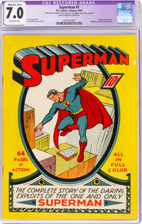 Superman #1 (DC, 1939) CGC Apparent FN/VF 7.0 Moderate/Extensive (B-4) Off-white pages