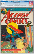 Golden Age (1938-1955):Superhero, Action Comics #23 (DC, 1940) CGC VF+ 8.5 Off-white to white pages....