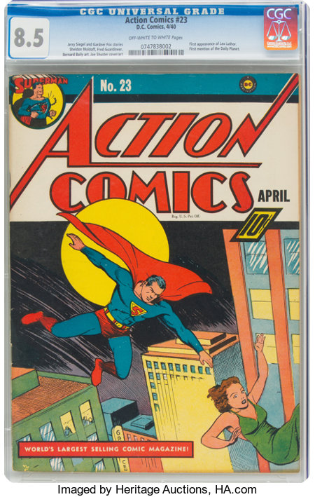 Action Comics #23 (DC, 1940) CGC VF+ 8.5 Off-white to white pages....
