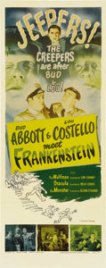 "Movie Posters:Horror, Abbott and Costello Meet Frankenstein (Universal, R-1956). Insert(14"" X 36""). The creepers are after Bud Abbott and Lou Cos..."