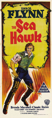 "The Sea Hawk (Warner Brothers - First National, R-1948). Australian Daybill (13"" X 30""). The last great swashb..."