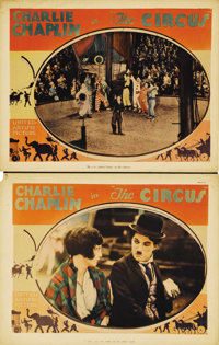 """The Circus (United Artists, 1928). Lobby Cards (2) (11"""" X 14""""). Charlie Chaplin both directed and starred in t..."""