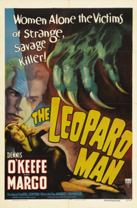 "The Leopard Man (RKO, 1943). One Sheet (27"" X 41""). When a dangerous leopard escapes its handler, several maul..."
