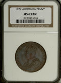 Australia: , Australia: George V Penny 1927, KM23, MS63 Brown NGC, deep purplebrown sheen and extremely well-struck....