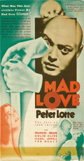 """Movie Posters:Horror, Mad Love (MGM, 1935). Herald (6.25"""" X 12""""). This strange MGM horror film directed by Karl Freund is the story of a doctor's ..."""