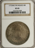 Mexico: , Mexico: Charles III 8 Reales 1772-Mo-FM, inverted assayer'sinitials, KM106.1, Cayon-12000, XF45 NGC. Moderate to heavy markswith s...