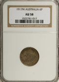Australia: , Australia: George V Sixpence 1917M, KM25, AU58 NGC, a choice tonedexample which is very close to mint state....
