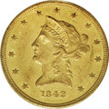 Liberty Eagles: , 1842 $10 Small Date AU58 PCGS. The 1842 Small Date has a lowmintage of 18,623 pieces, and most of the couple hundred survi...