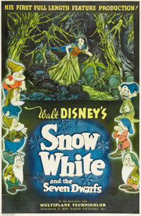 "Snow White and the Seven Dwarfs (RKO, 1937). One Sheet (27"" X 41.25"") Style C. Disney invested $1,500,000 and..."