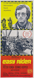 "Movie Posters:Drama, Easy Rider (Columbia, 1969). Australian Daybill (13"" X 30""). Thisfolded original release daybill features iconic images of ..."