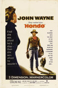 "Movie Posters:Western, Hondo (Warner Brothers, 1953). One Sheet (27"" X 41""). John Wayne isHondo Lane, an Army dispatch rider, who discovers a woma..."