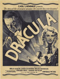 "Movie Posters:Horror, Dracula (Universal, 1931). Herald (8"" X 10.5""). Universal expected""Dracula"" to be a huge success for them, so they felt jus..."