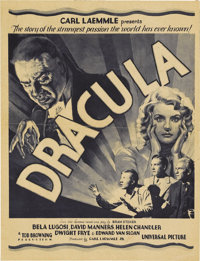 """Dracula (Universal, 1931). Herald (8"""" X 10.5""""). Universal expected """"Dracula"""" to be a huge success fo..."""