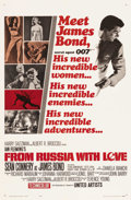 "Movie Posters:James Bond, From Russia with Love (United Artists, 1964). One Sheet (27"" X41""). Style A. Sean Connery stars as James Bond in the second..."