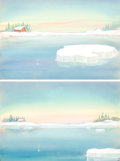 Animation Art:Painted cel background, Eliza on the Ice Background Art Group of 2 (Terrytoons, 1944).... (Total: 2 Original Art)