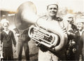 Baseball Collectibles:Photos, 1920 Babe Ruth with St. Mary's Industrial School Band Original News Photograph, PSA/DNA Type 1....