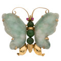 Estate Jewelry:Brooches - Pins, Multi-Stone, Gold Brooch The butterfly brooch...