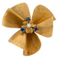 Estate Jewelry:Brooches - Pins, Diamond, Synthetic Sapphire, Gold Clip-Brooch . ...