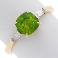 Demantoid Garnet, Diamond, Gold Ring