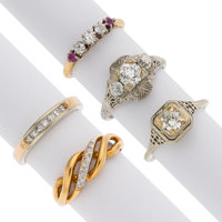 Diamond, Ruby, Gold Rings ... (Total: 5 Items)