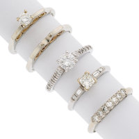 Diamond, Gold Rings ... (Total: 5 Items)