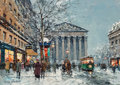 Paintings, Antoine Blanchard (French, 1910-1988). L'Église de la Madeleine. Oil on canvas. 13 x 18 inches (33.0 x 45.7 cm). Signed ...