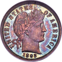 1893 10C PR67 NGC. CAC. A conditionally scarce and beautifully toned Superb Gem example of this early Barber proof issue...
