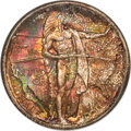 1937-D 50C Oregon MS68 NGC. CAC. A conditionally scarce, almost perfectly preserved Oregon Trail type coin. Luminous sat...