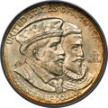 1924 50C Huguenot MS65 PCGS. Soft, creamy champagne luster envelops Gem surfaces on this Huguenot half dollar, complemen...