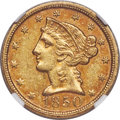 1850-D $5 AU53 NGC. Variety 28-U. Ex: Rive d'Or Collection. The 1850-D is an elusive Dahlonega issue, with an estimated...