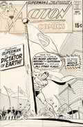 Original Comic Art:Covers, Curt Swan and Murphy Anderson Action Comics #381 Cover Original Art, Color Guide, and Cover Proof Group of 3 (DC, ...
