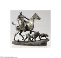 Decorative Arts, Continental:Other , CONTINENTAL SILVER PLATE EQUESTRIAN SCULPTURE HUNT SCENE