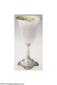 Wallace: A PARCEL GILT AMERICAN SILVER GRANDE BAROQUE PATTERN WATER GOBLET (Mark of Wallace, Wallingford, Connecticut) M...