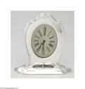 Silver Holloware, American:Other , Reed & Barton: AN AMERICAN SILVER HEPPLEWHITE PATTERN CLOCK(...