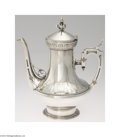 Silver Holloware, American:Coffee Pots, Wood & Hughes: AN AMERICAN COIN SILVER GREEK REVIVAL COFFEE ...