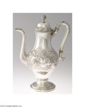 Silver Holloware, American:Coin Silver, Andrew Warner: AN AMERICAN COIN SILVER REPOUSSE COFFEE POT (...