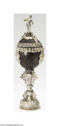 Silver Holloware, Continental:Holloware, A CONTINENTAL SILVER MOUNTED COCONUT CUP