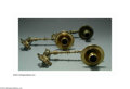 Lighting:Sconces, A PAIR OF AMERICAN BRASS VICTORIAN WALL SCONCES. Cast and engine turned extensions with stamped nozzles and wax pans, to... (Total: 2 Item)