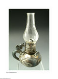 Silver Smalls:Cigar Lamps, Derby Silver Co: AN AMERICAN SILVER-PLATED FIGURAL OIL LAMP (...