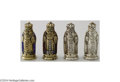 Silver Smalls:Other , A GROUP OF FOUR SILVER GILT AND ENAMELED KING FIGURINES